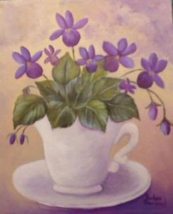 Detail Image for art Wild Violets in tea Cup//Ssold