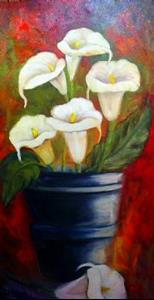 Detail Image for art CALLA LILIES IN A BUCKET SOLD