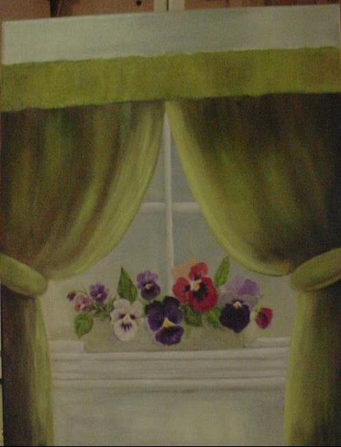 Art: Pansies on my Window Sill/SOLD by Artist Barbara Haviland