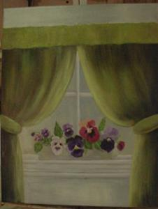 Detail Image for art Pansies on my Window Sill/SOLD