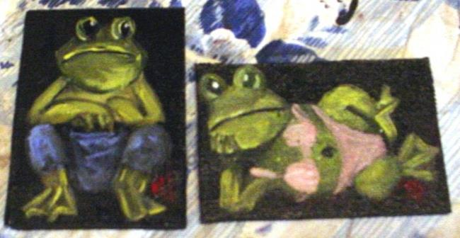 Art: Freddy and Fiona Frog Aceo's//SOLD by Artist Barbara Haviland