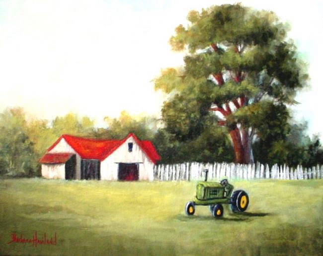 Art: Red Barn with Green  Tractor //SOLD by Artist Barbara Haviland