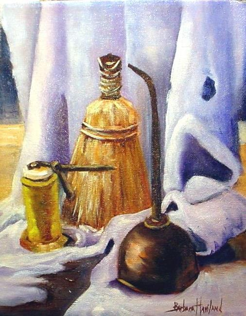 Art:  OIl Cans and Whisk Broom//SOLD by Artist Barbara Haviland