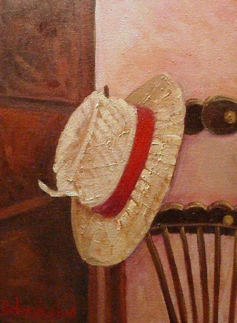 Art: Straw Hat on Chair   /// SOLD by Artist Barbara Haviland