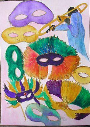 Art: Mardi Gras & Jazz//SOLD by Artist Barbara Haviland