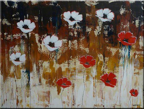 Art: ORIGINAL abstract PAINTING WITH FLOWERS,acrylic on canvas    -      SOLD by Artist Nataera