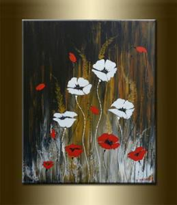 Detail Image for art ORIGINAL ABSTRACT PAINTING WITH FLOWERS - SOLD