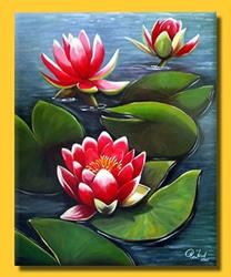 Art: Pink Water Lilies by Artist Rita C. Ford