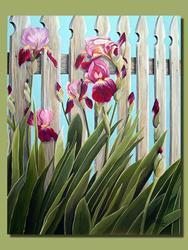 Art: Irises Along the Fence by Artist Rita C. Ford