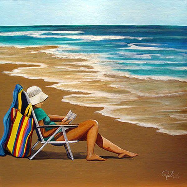 Art: Solitude, Woman at the Beach by Artist Rita C. Ford