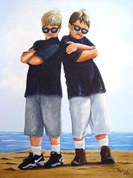 Art: Blues Brothers at the Beach by Artist Rita C. Ford
