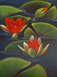 Art: Red Water Lilies at Sunrise by Artist Rita C. Ford