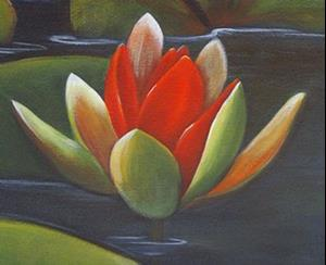 Detail Image for art <b>Red Water Lilies at Sunrise