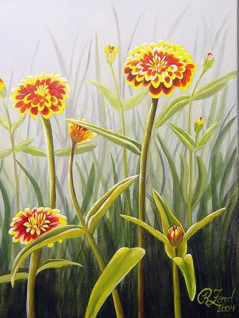 Art: Grandma's Zinnias by Artist Rita C. Ford