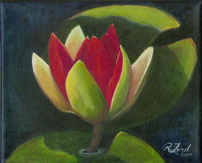 Art: Red Water Lily at Sunrise by Artist Rita C. Ford
