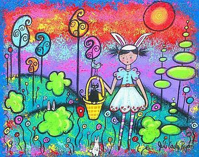 Art: Bunny Girl Arrives With Spring by Artist Juli Cady Ryan