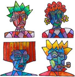 Art: Four  'Heads'  Are Better Than One! by Artist Diane G. Casey