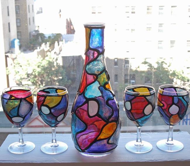 Art: Mo' Rockin' Nights (5 Pc. Wine Decanter Set) by Artist Diane G. Casey