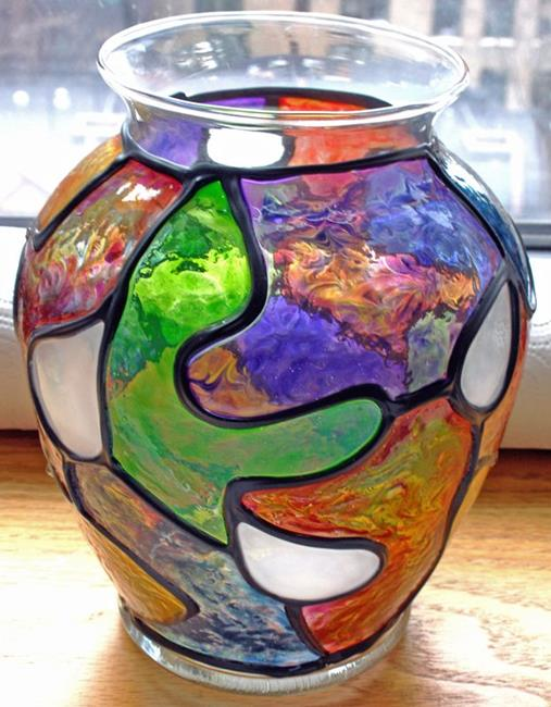 Tears of Joy Stained Glass Painted Vase by Diane G Casey from Stained Glass Painted Art