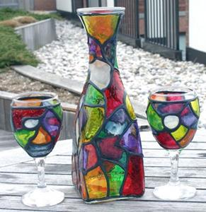 Detail Image for art Funky Organic Stained Glass Painted Wine Decanter & 2 glasses set
