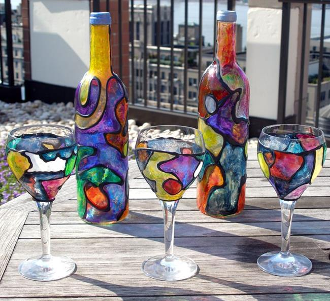 Oceans of color by diane g casey from stained glass for How to stain glass jars with paint