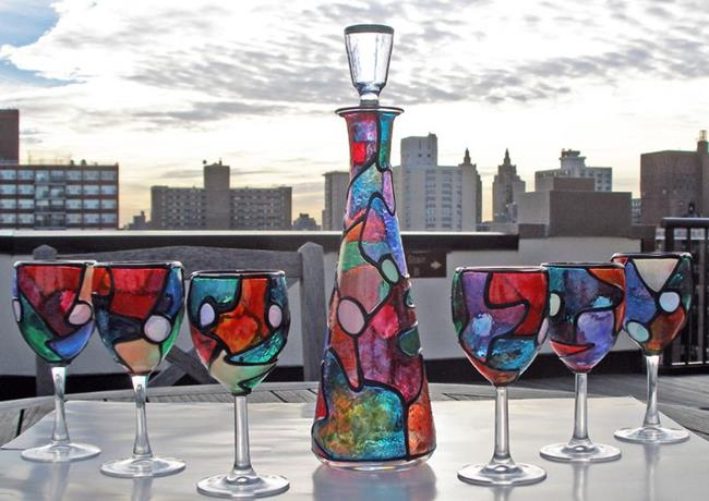 Art: Wine Decanter with Topper & 6 glasses by Artist Diane G. Casey
