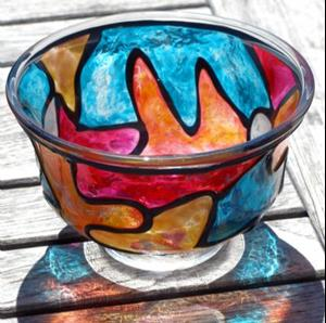 Detail Image for art As Deep As The Ocean (Stained Glass Painted Pedestal FingerBowl)