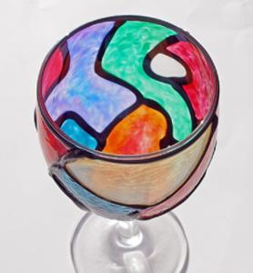 Detail Image for art Stained Glass Painted Wine Decanter Set (Topper & 2 glasses included)