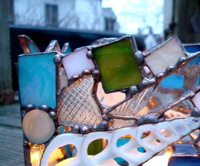 Art: Of sand and sea votive holder sold by Artist pamela jean lacasse