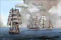 Art: Tall Ships off Newport by Artist Steve Hamlin
