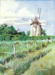 Art: Isle aux Coudres Windmill by Artist Steve Hamlin