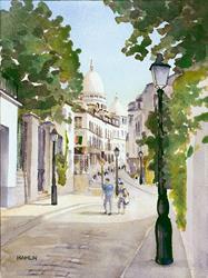 Art: Street Scene, Montmartre (Rue Norvin) by Artist Steve Hamlin