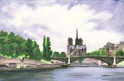 Art: Notre Dame from the Seine by Artist Steve Hamlin