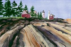 Art: Late Afternoon, Pemaquid Point by Artist Steve Hamlin