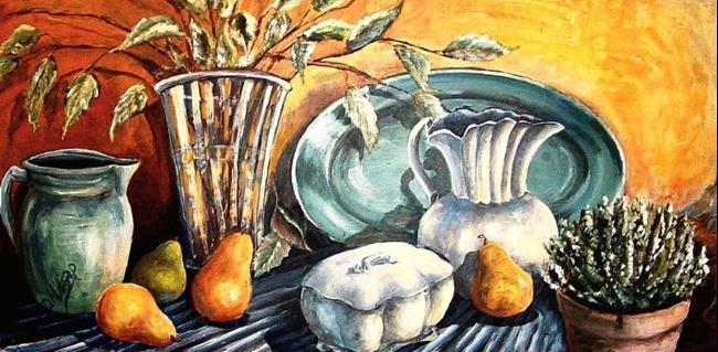 Art: Pears & Pottery by Artist Diane Millsap