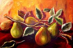 Art: Pears on a Branch by Artist Diane Millsap