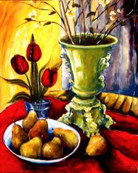 Art: Red Tulips with Pears by Artist Diane Millsap