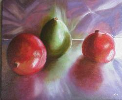 Art: Pomegranates and Pear On Aluminum NOT FOR SALE by Artist Terri L West