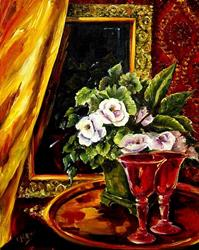 Art: Red Goblets by Artist Diane Millsap
