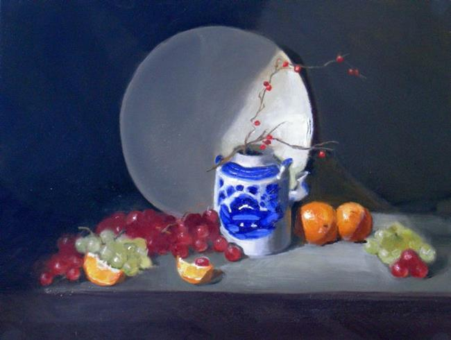 Art: Grapes and Oriental Jug by Artist Debra Schott