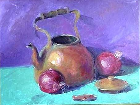 Art: Red Onion and Copper Teapot by Artist Debra Schott