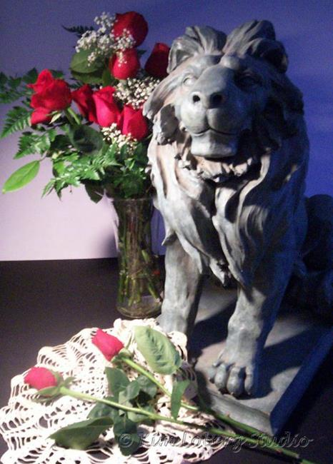 Art: Lion and Roses by Artist Kim Loberg