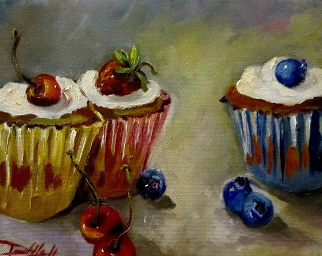 Art: Cup Cakes and Fruit by Artist Delilah Smith