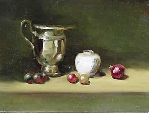 Art: Silver Pitcher by Artist Debra Schott