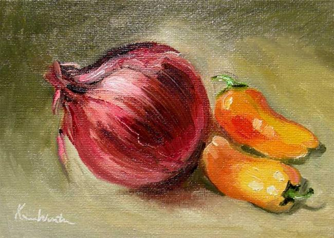 Art: Onion and Peppers - impressionist still live by Artist Karen Winters