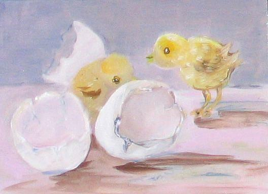 Art: The Egg or the Chicken-sold by Artist Delilah Smith
