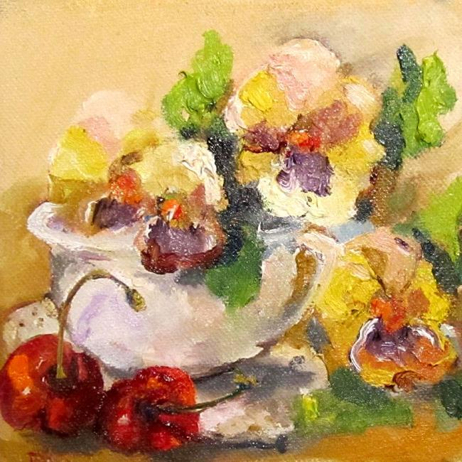 Art: Pansies in Cup with Cherries-sold by Artist Delilah Smith