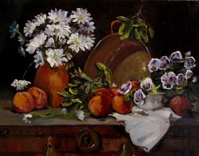 Art: Flowers and Peaches by Artist Delilah Smith