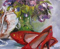 Art: Red High Heels and Lilacs by Artist Delilah Smith