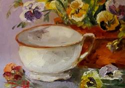 Art: Cup with Pansies by Artist Delilah Smith